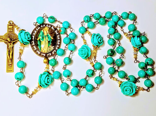 Beautiful Vatican Style Turquoise Bead Aqua Rose Miraculous Mary Benedict Rosary