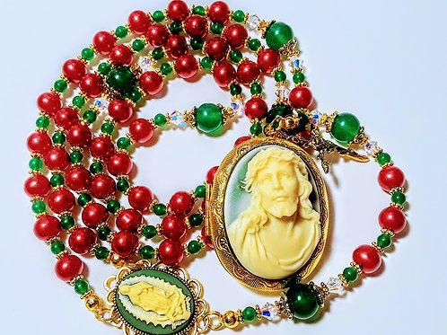 Red Pearl Green Jade Jesus Cameo Locket Christmas Guadeloupe Rosary Swarovski