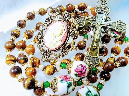 Beautiful Victorian Roses Ceramic Bead Tiger Eye Mary Cameo Catholic Rosary