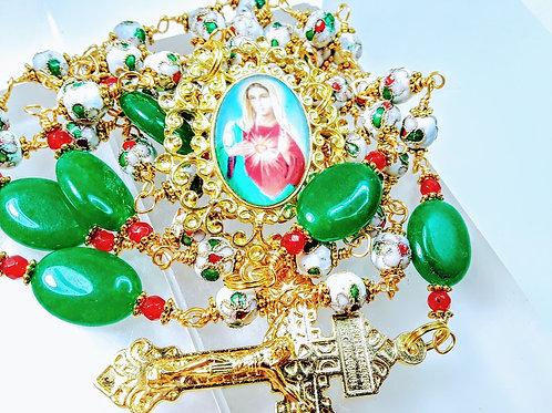 CHRISTMAS ROSARY Beautiful Snow White Cloisonne Flower Bead Green Jade Rosary