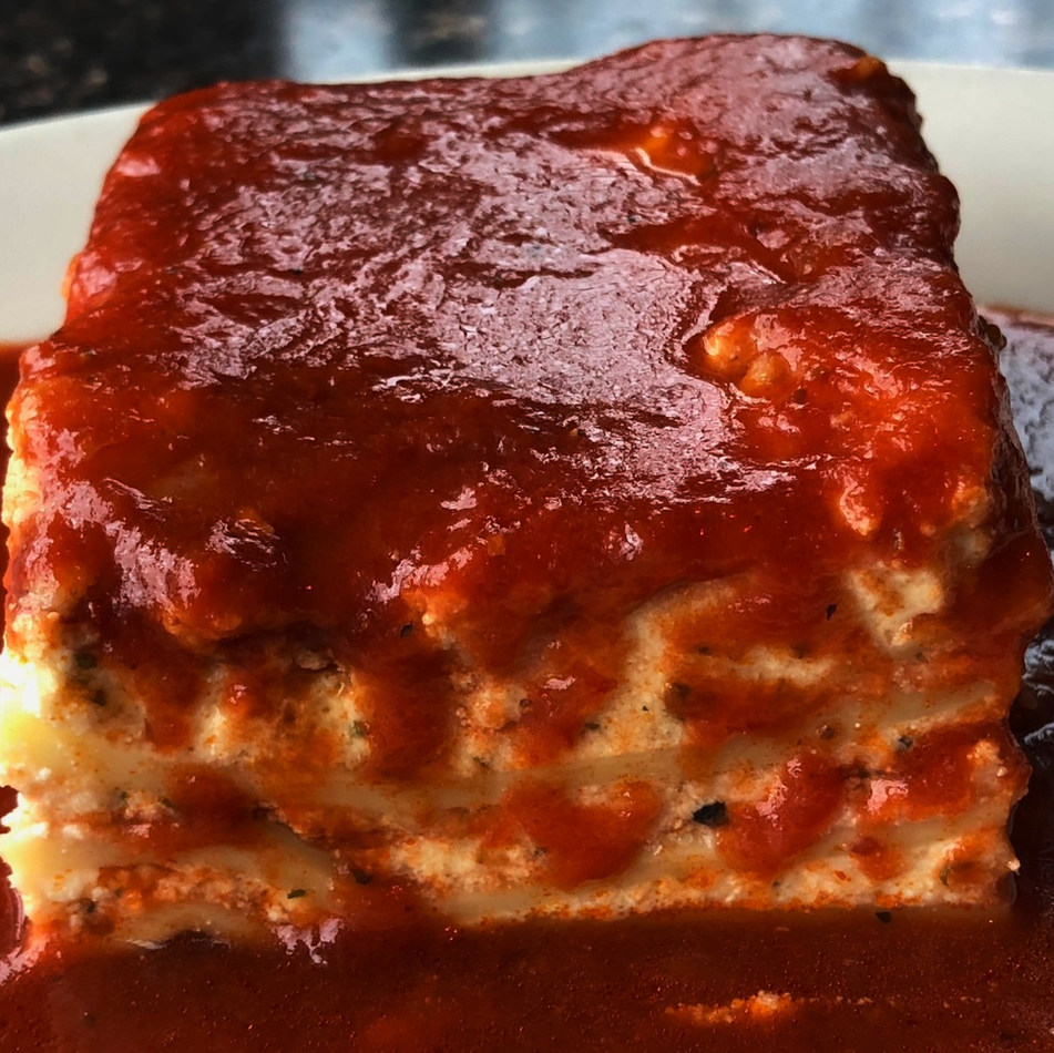 LASAGNA Served with your choice of tofu or almond ricotta Small Pan (Serves 8-12): $80.00 Full Size (Serves 18-24): $160.00