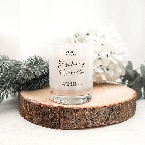 Raspberry & Vanilla - Medium Soy Wax Candle