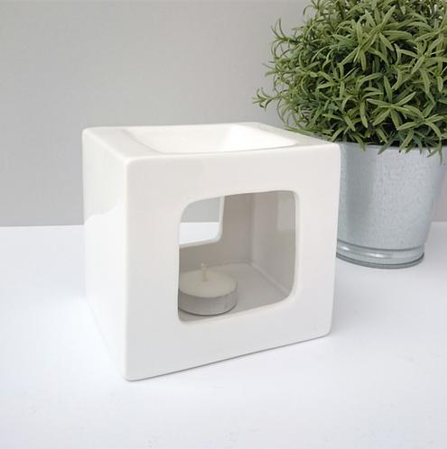 Square Ceramic Wax Melter - White
