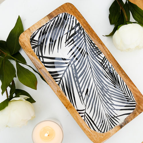 Wooden Serving tray with Leaf Design