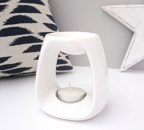 Curved Ceramic Wax Melter - White