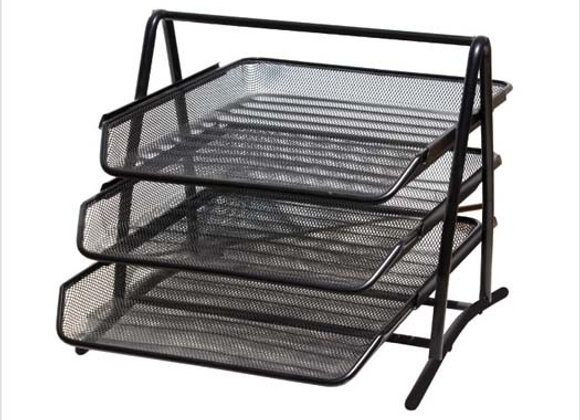 Metal Mesh Letter Tray, 3 Tier, Black