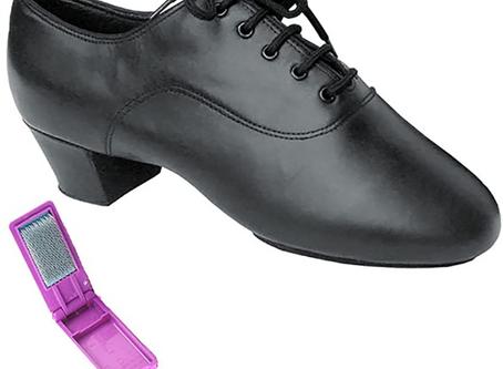 Very Fine Ballroom Latin Tango Salsa Dance Shoes for Men S417 1.5 inch Heel + Foldable Brush Bundle