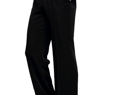 YILINFEIER Men Professional Black Straight with Pocket Belt Wide Latin Modern Square Practice Dance