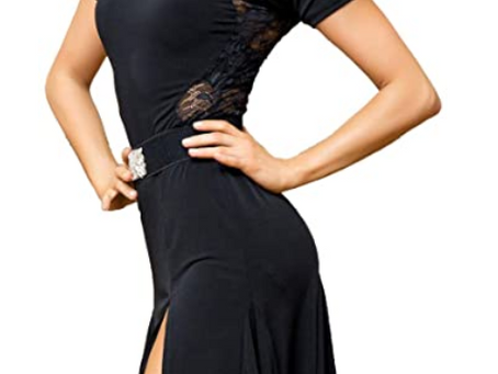 Latin Ballroom Dance Professional lace Sides Split Swing Dress (Note: no Belt is Included)