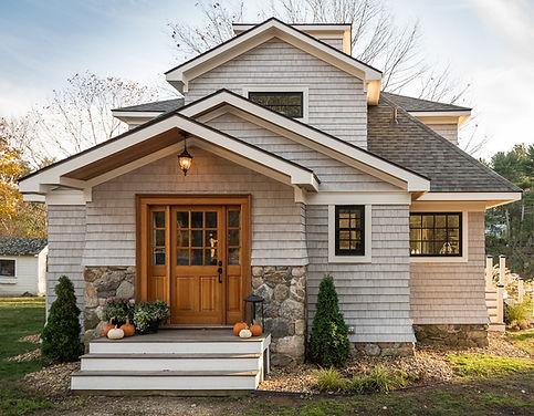 Exterior House Shingles Black Windows Natural Stone Residential Architecture Maine Coastal Design