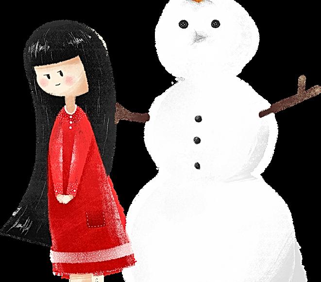 Chica con el muñeco de nieve