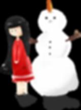 Ragazza con pupazzo di neve