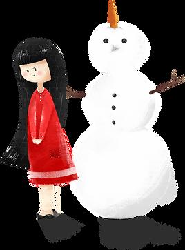Fille avec bonhomme de neige