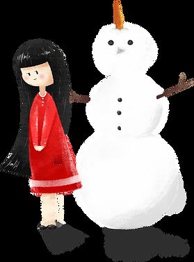 Девушка с снеговика