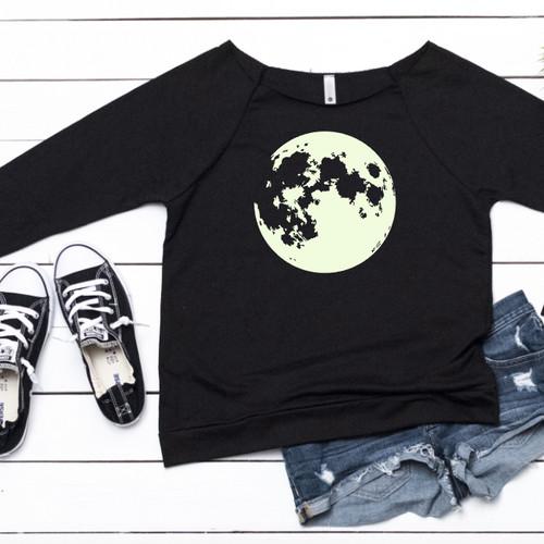 glow in the dark moon shirt 34 length shirt halloween shirt