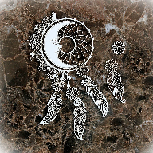 Beautiful Board Medium Luna Dream Catcher Pattern Laser Cut Chipboard