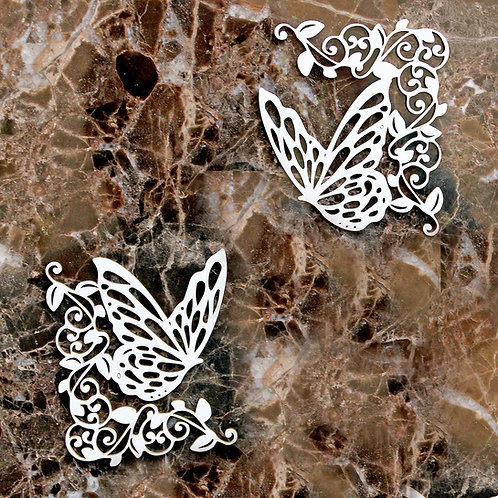 Beautiful Board Large Butterfly Flourish Corners Laser Cut Chipboard  Set