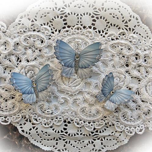 Winter Sky Premium Paper Glitter Glass Butterflies