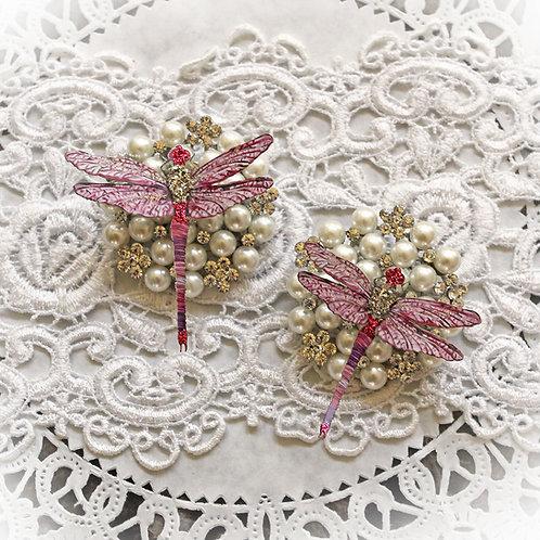Suncatcher Pink Premium Paper Glitter Glass Dragonflies
