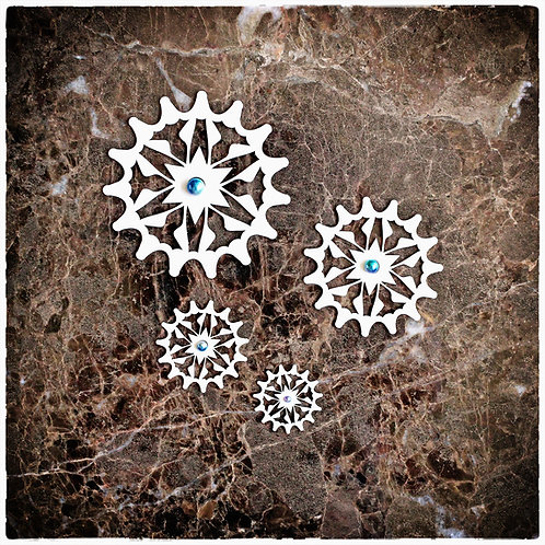 Beautiful Board Shooting Star Gears With Bead Holes Chipboard