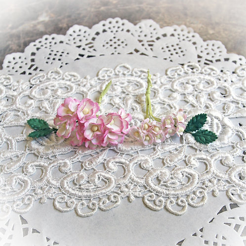 Itty Bitty Blossoms and Leaves Raspberry And White Mulberry Paper Flower