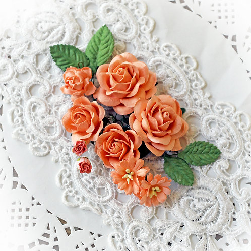 Peach Roses And Leaves Mulberry Paper Flower Set