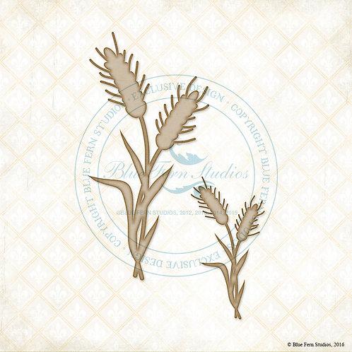 Blue Fern Laser Cut Chipboard-Wheat Stalks