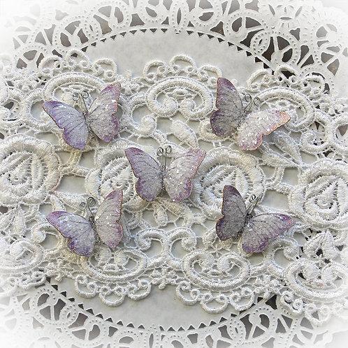 Tiny Treasures Lavender Fairy Dust Glitter Glass Premium Paper Butterfl