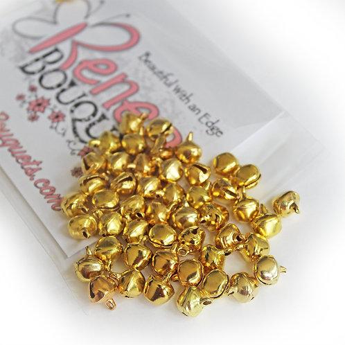 Jingle Bells Gold 8mm Trinkets Pack Of 50