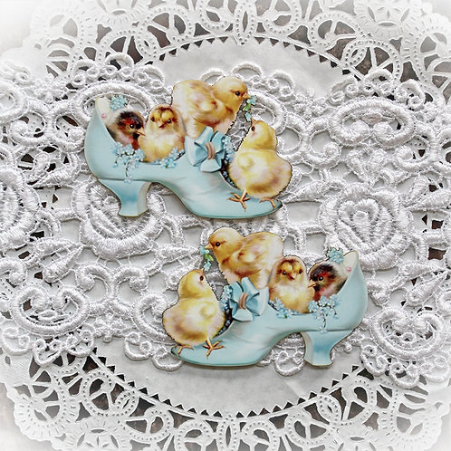 Printed Beautiful Board Small Baby Chicks In Blue Shoe Laser Cut Chipboard