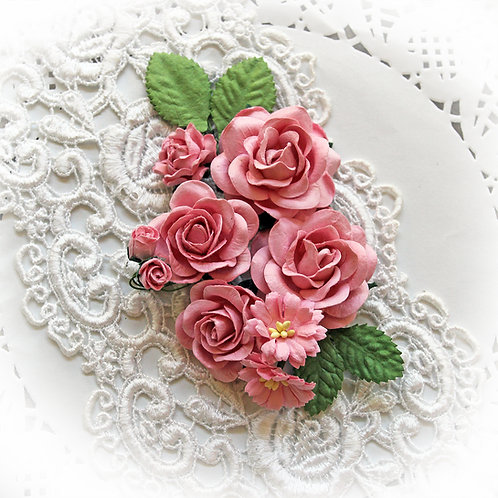 Bubblegum Pink Roses And Leaves Mulberry Paper Flowers