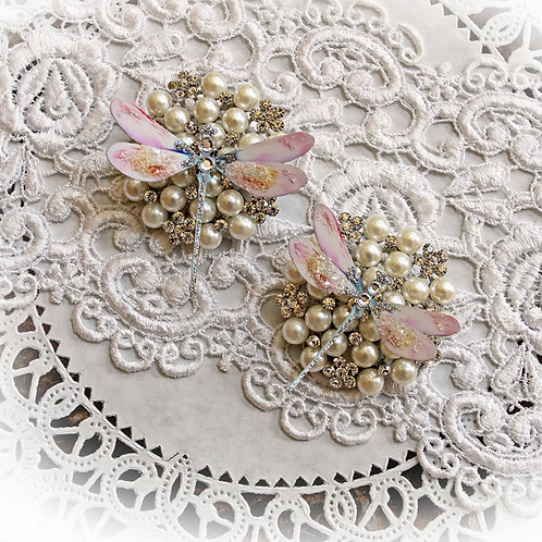 Frosty Pink Premium Paper Glitter Glass Dragonflies