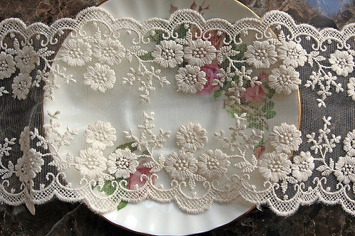 Ivory Wide Floral Embroidered Lace