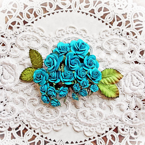Mini Dark Teal Mulberry Paper Roses And Leaves Set