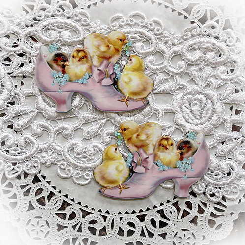 Printed Beautiful Board Small Baby Chicks In Pink Shoe Laser Cut Chipboa