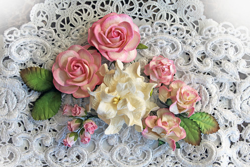 Pink white curly roses mulberry paper flowers altered items tags mini albums or anything your imagination can create with this beautiful pink and white mulberry paper curly roses gardenias set mightylinksfo