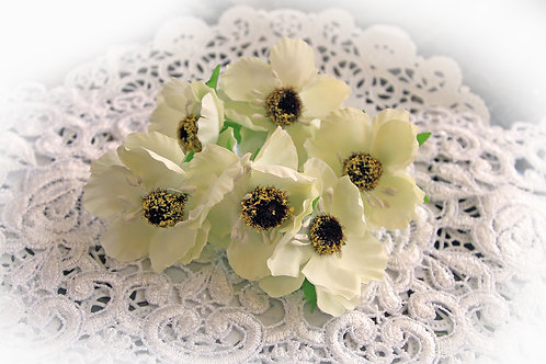Camellia Ivory Artificial Fabric Flowers