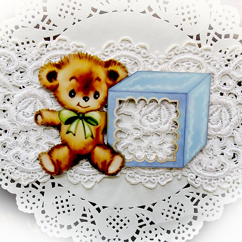 Printed Beautiful Board Baby Blocks Teddy Bear Frame Chipboard