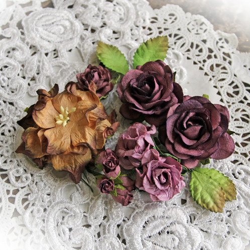 Winter Berry Curly Roses Mulberry Paper Flowers