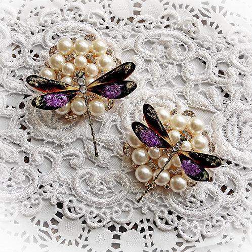 Tranquil Glitter Glass Premium Paper Dragonflies