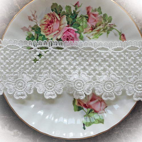 Gracie's Garden Lace~ 2 1/4 Inch Wide White
