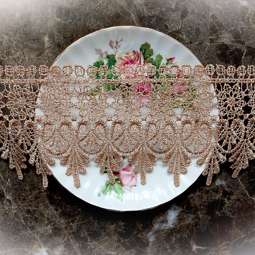 Venetian Embroidered Lace~3 1/4 Inch Wide In Coffee