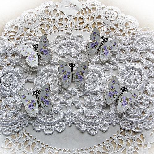 Tiny Treasure Shabby Lavender Roses Premium Paper Glitter Glass Butterfly Set