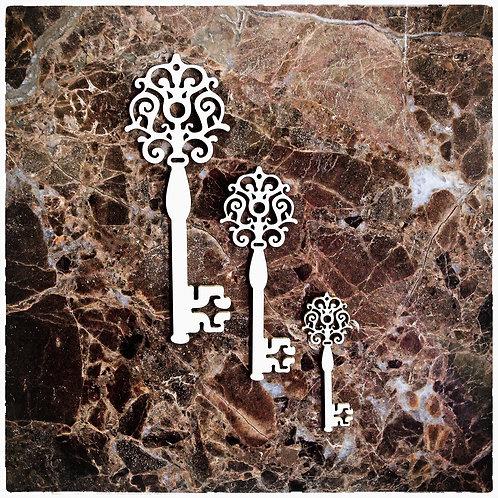 Beautiful Board Ornament Keys Laser Cut Chipboard Key Set Of 3
