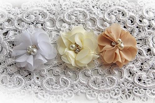 Neutral Chiffon Pearl & Rhinestone Flower Set Of 3
