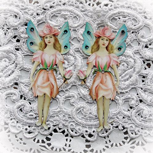Large Vintage Rose Petal Fairy Premium Paper Die Cut