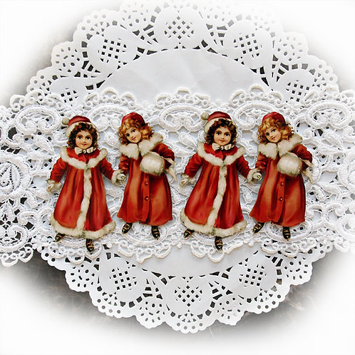 Printed Beautiful Board Tiny Snow Bunny Sisters Laser Cut Chipboard