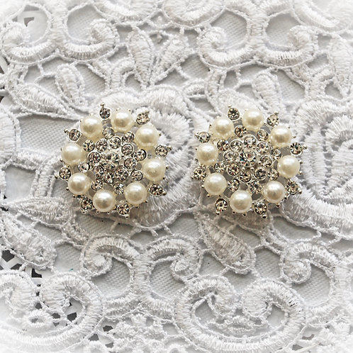 Elegant Wedding Pearl And Rhinestone Button Set Of 2