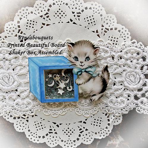 Printed Beautiful Board Baby Blocks Kitty Shaker Box Chipboard