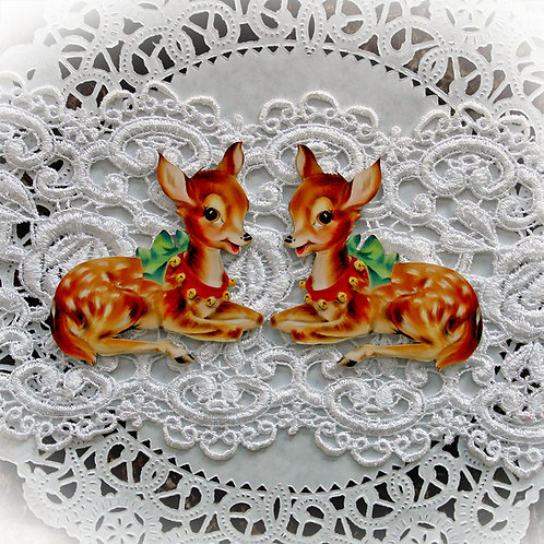 Printed Beautiful Board Small Vintage Christmas Reindeer Laser Cut Chipbo